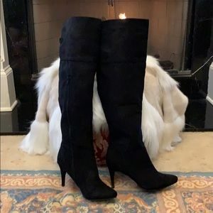 Classy & Sexy blk suede over the knee boots